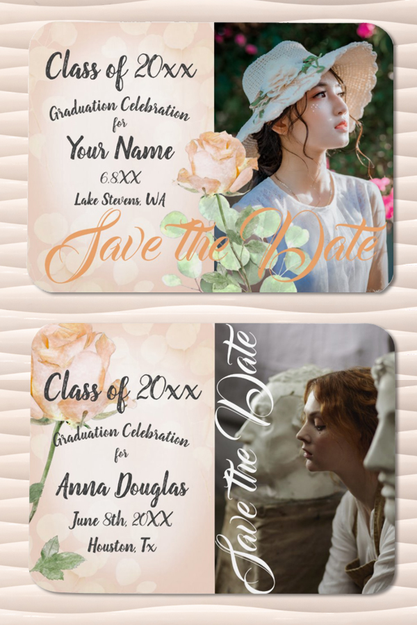 Pink and Coral High School Graduation Party Invitations and Announcements