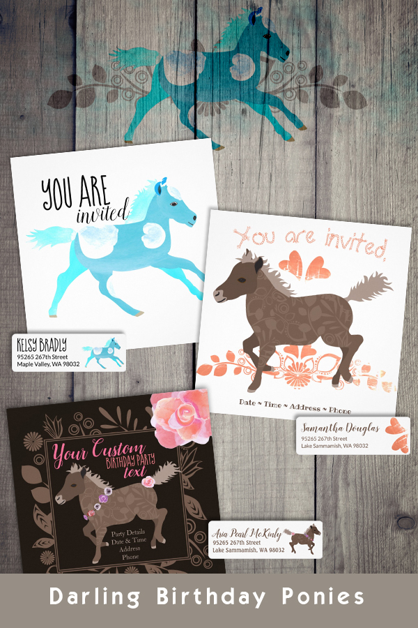 Aquamarine, Turquoise, Brown with Pink Roses. Girls' Pony Birthday Party Invitations