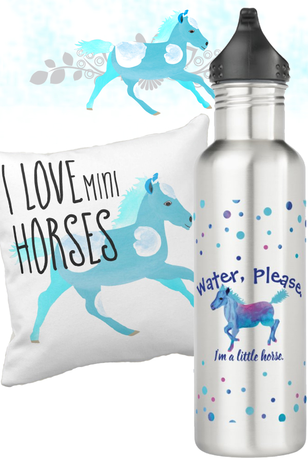 turquoise blue funny equestrian gifts for miniature horse or shetland pony lovers