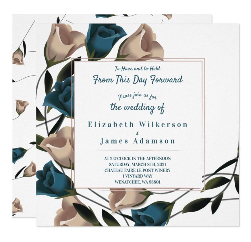 teal wedding invitations deep teal beige roses